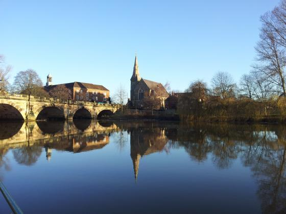 The English Bridge in Shrewsbury January